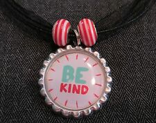 BE KIND Black Ribbon Bottle Cap Bling Charm Necklace Striped Beads Respect Week