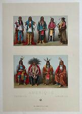 Racinet Lithographie 1888 Costume Amérique indien peaux-rouges