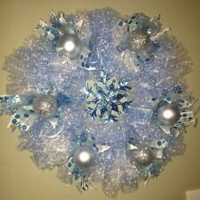 HANDMADE CHRISTMAS DECO MESH WREATH WITH SNOWFLAKE - BLUE WHITE & SILVER