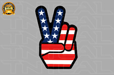 Peace Sign American Flag Hand USA Patriotic Decal - Car Truck Window Sticker