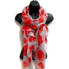 Hot Stylish Women Lady Floral Scarf Remembrance Poppies Scarves Wrap Shawl AUS
