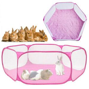 Folding Pet Playpen Rabbit Hamster Indoor Guinea Pig Run Enclosure Portable Pink