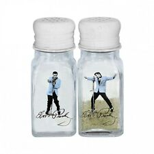 Elvis Presley The King Blue Jacket Vintage Glass Salt And Pepper Shaker Set