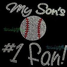 "Hotfix Rhinestones Heat Transfer My son's #1 baseball/ soccer/ basketball Fan"""