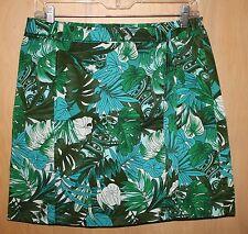 Ann Taylor A-Line Skirt~Sz 4~Green, Teal & Ivory Tropical Print~Cotton/Spandex