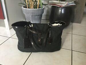Sac shopping cabas PAULE KA  cuir marron façon Croco feutrine grise bon  état