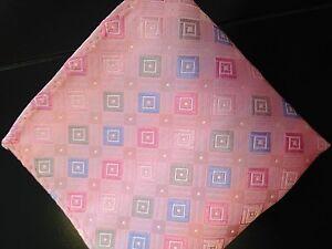 "New 10"" 100% Silk Pocket Square  Geometric Pink Pastel-13"