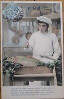 First/1st of April/Premier Avril 1905 Postcard: Fish & Chef in Kitchen