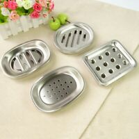 Bathroom Stainless Steel Soap Dish Storage Holder Soapbox Plate Tray Drain Sale