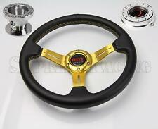Gold Steering Wheel Kit w/Quick Release PO For Hyundai Accent Genesis Tiburon