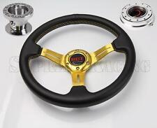 Gold Steering Wheel Kit w/Quick Release PO For Toyota Celica Corolla Cressida