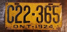 1924 Ontario CANADA Steel License Plate C22 - 365    Fast Free S/H