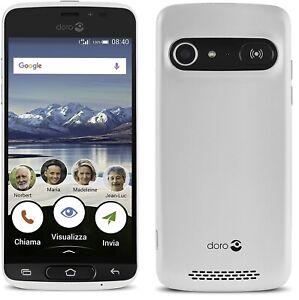Doro 8040 (Unlocked) 16GB, 8MP, 5'' Display, GPS, Smartphone for Senior (White)
