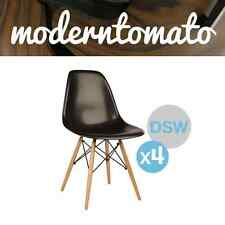 NS ( Set of 4 ) Premium Black DSW Dowel Wood Leg Side Chair Mid Century Modern M