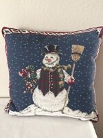 Vintage Christmas Pillow Tapestry Throw~Christmas Snowman & Holly