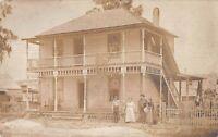 Vintage 1910's RPPC Photo of Farmhouse and Family  Postcard