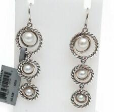 New DAVID YURMAN Triple Drop Pearl Dangle Earrings in Sterling Silver