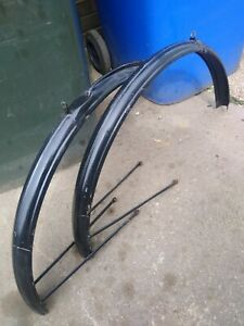 """Vintage black Raleigh Rudge bicycle mudguards 26"""", 1950s"""