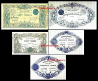 2x  50, 50 ,100, 500 ,1000 Fr. - Edition 1862 - 1889 - Reproduction - 20