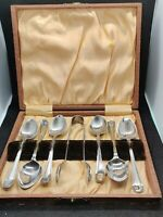 Antique EPNS Silver Plated Spoons & Tongs Set Boxed