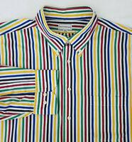 👔  MAUS & HOFFMAN   Mens White/Blue/Green/Red Cotton Button Down Shirt  XXL