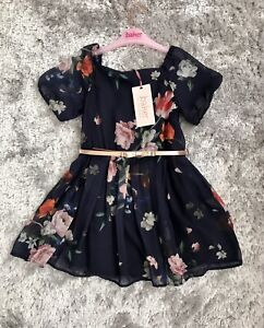 New Girl Ted Baker Summer Navy Chiffon Floral Belted Occassion Dress 4 Years 🎀
