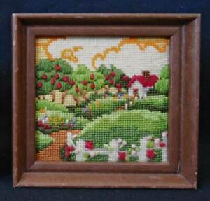 Vintage Architectural Needlework Country Cottage Flowers Fruit Trees Jewel Like