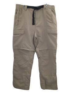 The North Face Mens XL Hiking Pants Convertible Zip Cargo Outdoor Nylon Khaki
