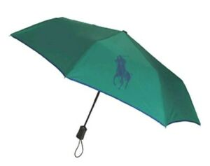 Ralph Lauren Polo Authentic Foldable Green Umbrella With Large Blue Pony