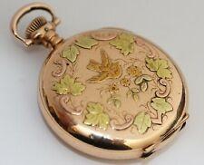 1905 HAMPDEN HUNTING CASE Ornate Antique MULTI-COLOR Pocket Watch w/ FANCY DIAL