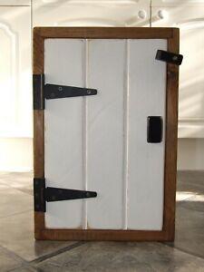 SOLID PINE WOOD WOODEN HANDMADE WALL CUPBOARD Unique Black & White Door