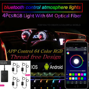 4x Wireless APP Control Ambient Light Car Atmosphere Lamp 64Colors Optic Fiber
