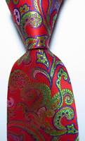 New Classic Paisley Red Blue Green JACQUARD WOVEN 100% Silk Men's Tie Necktie