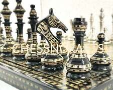 """Brass Metal Chess Pieces Set & Board 14"""" Hand Carved With Storage Box Soviet."""