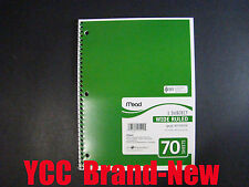 Mead Spiral Notebook,1 subject,70 sheets,wide ruled,green cover,10.5 x 8 in,1pk