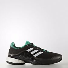 san francisco b2221 a9cfc NEW Adidas Barricade 2017 BOOST Men Black White Green BA9103 6.5