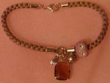 FOSSIL BRAND Sterling Silver Charm Bracelet Amethyst & Pearl Enamel Charm Pretty