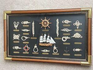 Large Display of Nautical Sail Boat w/ Marine Sail Knots in a Wooden Shadow Box