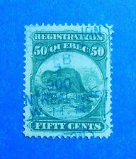 1870 50c CANADA QUEBEC REGISTRATION REVENUE VD # QR9 B # 8 USED          CS32763