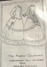 "Antique French Fashion Lady Doll 15"" Rohmer Huret Suit Dress Jacket Pattern"