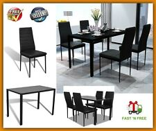Shabby Chic Glass Dining Room Table Set 4 Black Chairs Indoor Home Furniture