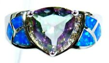Silver 925 SF Size 10 Ring Blue Lab Opal & 8mm Mystic Topaz & White Topaz