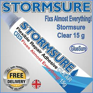 STORMSURE 15G FLEXIBLE REPAIR ADHESIVE GLUE CLEAR FIX RIPS AND HOLES FAST UK