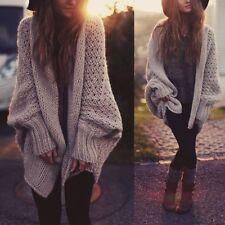 US Women Oversized Batwing Sleeve Knit Sweater Tops Loose Cardigan Outwear Coat