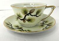 Narumi Mikasa Shasta Pine Cup and Saucer Set of 2 Made in Japan Tea Coffee 1958