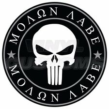 "Punisher Skull Molon Labe Vinyl Decal Sticker Don't Tread on Me - 3"" in."