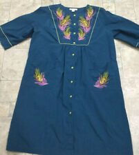 Go Softly Patio House Dress Duster Robe Teal Embroidered Peacock Feathers L FLAW