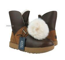 UGG Isley Waterproof Chestnut Leather Fur Pom Pom Boots Womens Size 9 *NIB*
