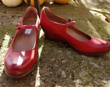 NEW Women's Dankso Loralie Red Burnished Leather Mary Jane Wedge Shoes Size 8