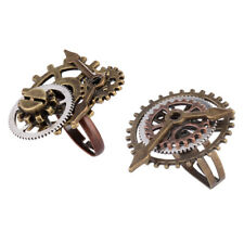 2pcs Punk Gothic Adjustable Ring Steampunk Gear Watch Clock Movement Rings